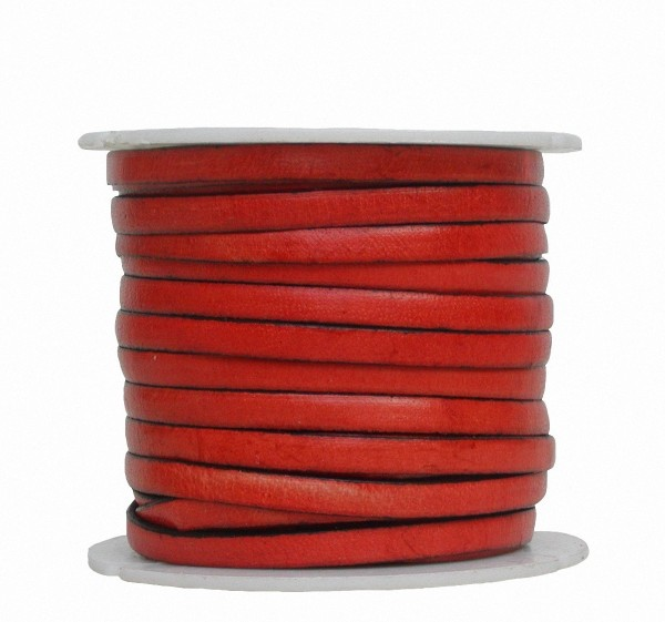 Ziegenleder Lederriemen, Lederband flach orange, Kanten schwarz gefärbt, Länge 25 m, Breite ca. 5 mm, Stärke ca. 1,0 mm