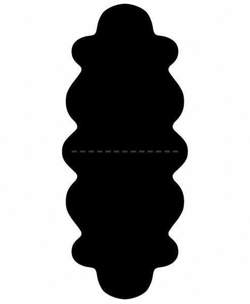 australische Doppel Lammfelle aus 2 Fellen schwarz gefärbt, voll waschbar, ca. 175x63 cm, Haarlänge ca. 70 mm