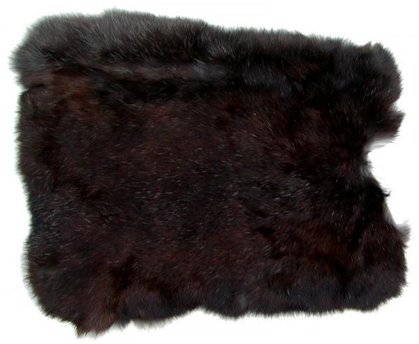 Kaninchenfelle schwarz naturfarben, ca. 30x30 cm, Felle vom Kaninchen mit seidigem Haar