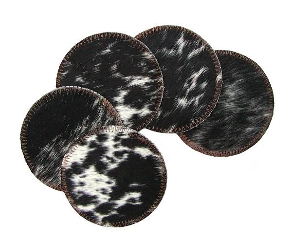 dekorative Tisch Untersetzer aus Rinderfell natur, Schwarz-Brauntöne, Ø 11 cm, für Tisch und Bar