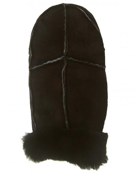 Damen, Herren Patch Velourleder Fellfäustlinge braun aus Fellstücken, Leder Fellhandschuhe braun