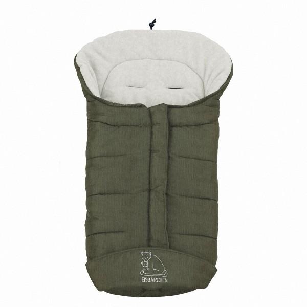 molliger Baby Winter Fleece Fußsack dunkelgrün meliert, voll waschbar, für Kinderwagen, Buggy, ca. 98x47cm