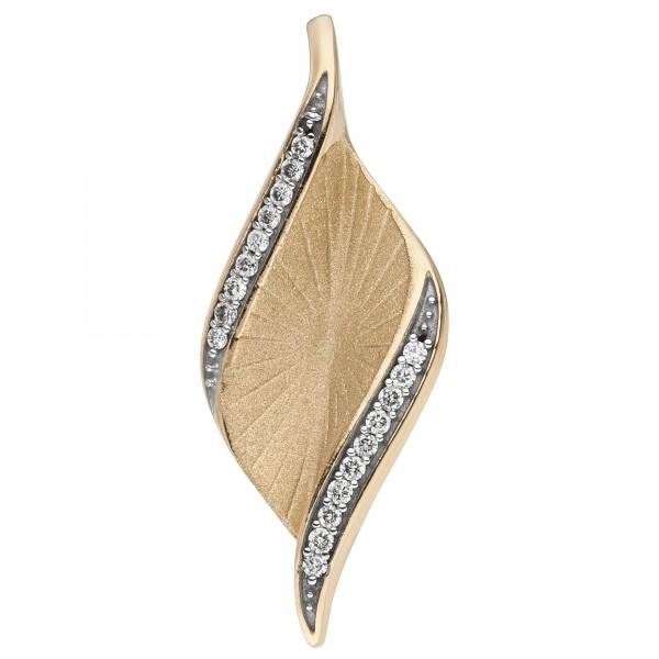 Anhänger 585 Gold Gelbgold matt 19 Diamanten Brillanten 0,08ct.