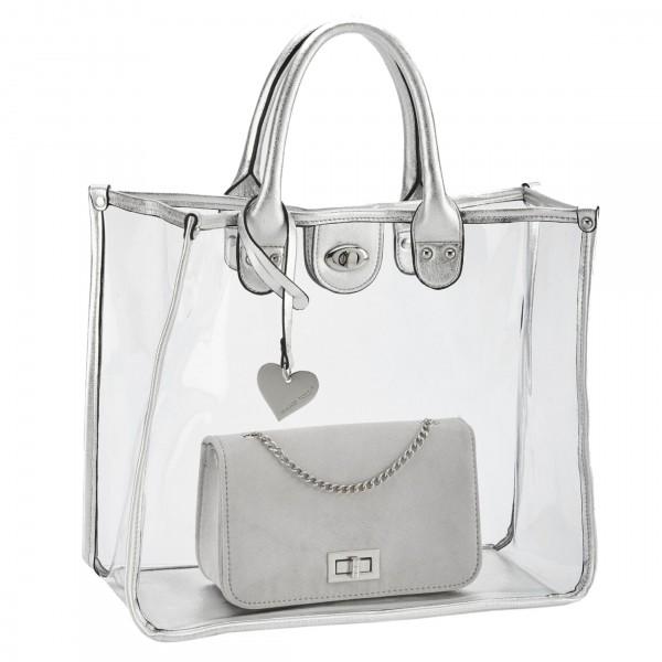 Marco Tozzi 2in1 trendige Handtasche + Shopper silver, mit Tragegriff, 35x30 cm