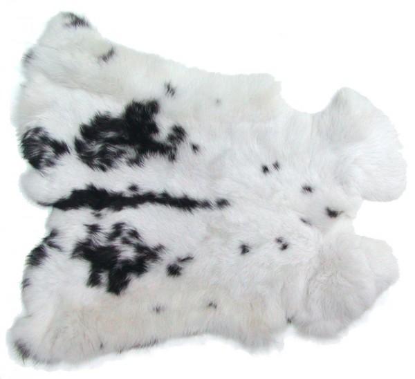 Kaninchenfelle weiß-schwarz naturfarben, ca. 30x30 cm, Felle vom Kaninchen mit seidigem Haar