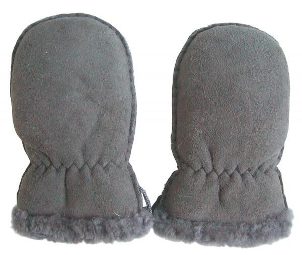 Lammfell Handschuhe Babys grau, Baby Fell Fäustlinge, weich und kuschelig