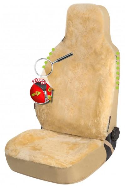Universal Reißverschluss Autositzfelle beige für Highback Sitze, ZIPP IT System, echtes Lammfell, kühlt + wärmt