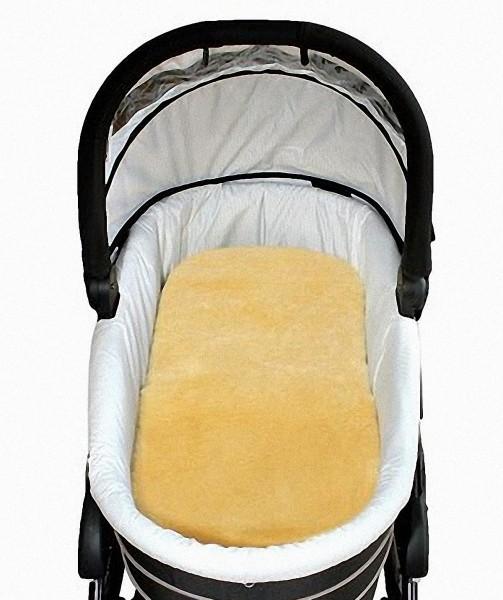Baby Lammfell Einlagen goldbeige 30 mm geschoren für Tragetasche, Kinderwagen, Kinderbett, ca. 73x33 cm, waschbar