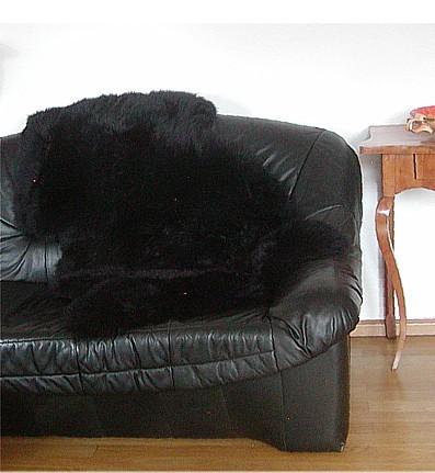Natur Lammfell schwarz, ökologische Gerbung mit Alaun, pflanzliche Färbung, waschbar, ca. 115 cm