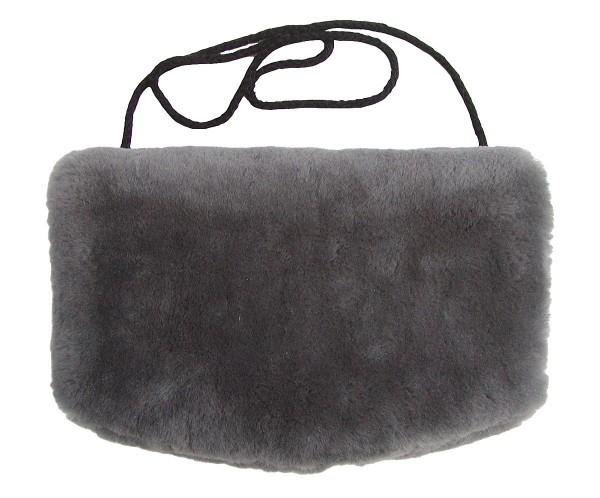warmer Lammfell Pelzmuff, Felltasche anthrazit mit Reißverschlusstasche waschbar, geschorenes Lammfell, ca. 29,5x19 cm