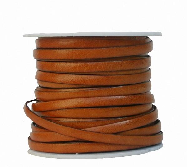 Ziegenleder Lederriemen, Lederband flach natur, Kanten schwarz gefärbt, Länge 25 m, Breite ca. 5 mm, Stärke ca. 1,0 mm