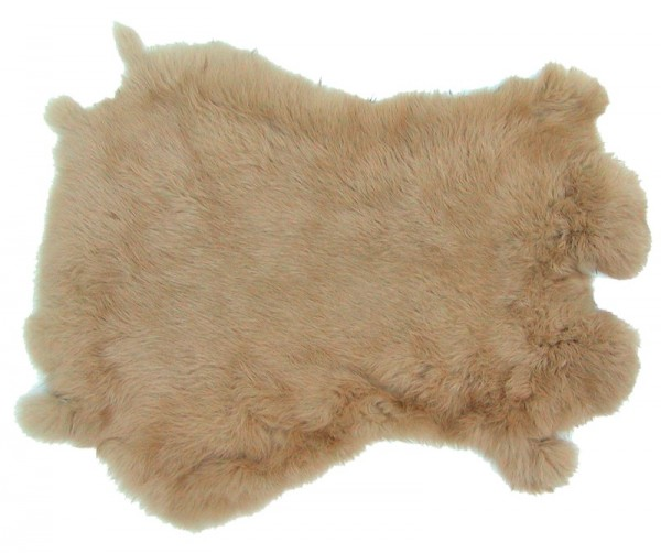 Kaninchenfelle beige gefärbt, ca. 30x30 cm, Felle vom Kaninchen mit seidigem Haar