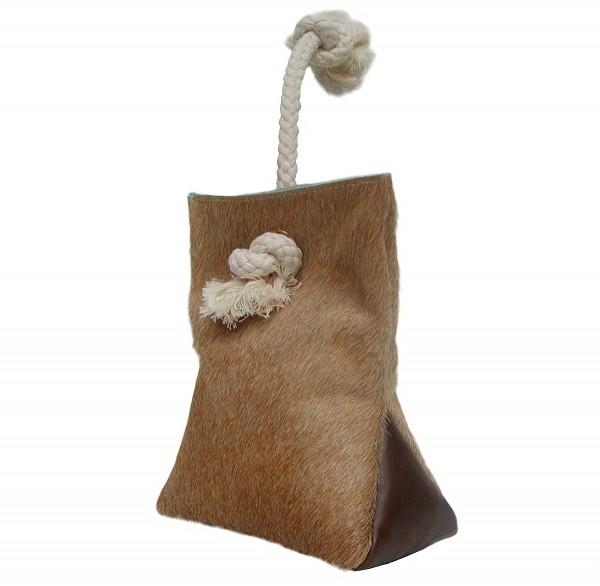 Türstopper aus Kuhfell und Leder hellbraun mit Kordel 23x18 cm, ca. 1,5 kg, Türsack, Türpuffer