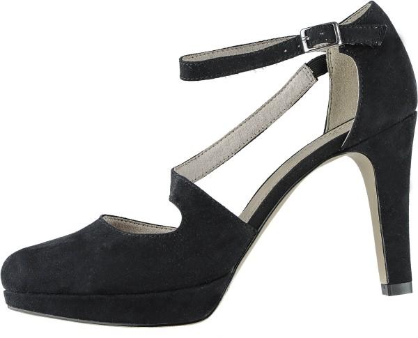 s.Oliver stylishe Damen Leder Imitat High Sandaletten black, weiche Soft Foam Decksohle, Absatz 90 mm