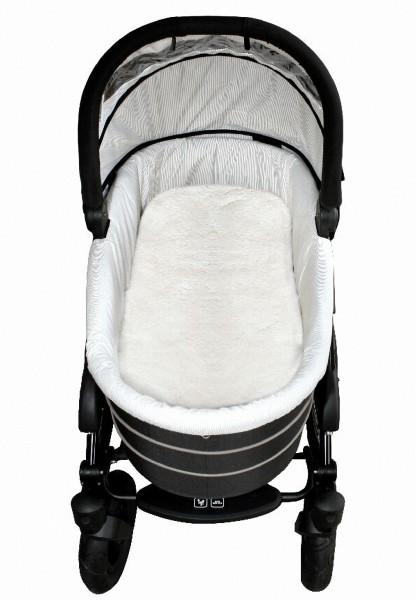 Baby Lammfell Einlagen weiß 30 mm geschoren für Tragetasche, Kinderwagen, Kinderbett, ca. 73x33 cm, waschbar