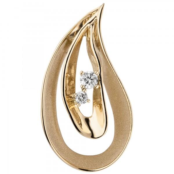 Anhänger Tropfen 585 Gold Gelbgold teil matt 2 Diamanten Brillanten
