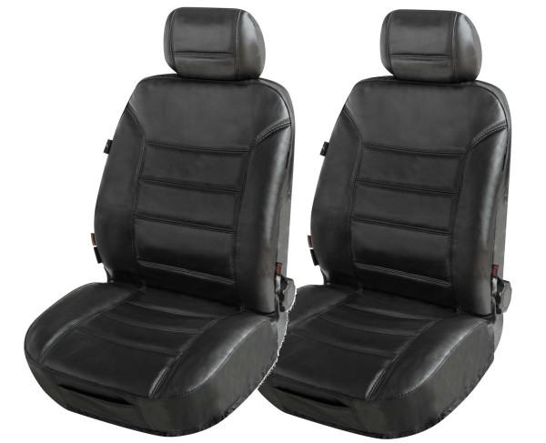 ZIPP IT 2 Stück Universal Echt Leder Auto Sitzbezüge schwarz, RV System, Leder Auto Schonbezug