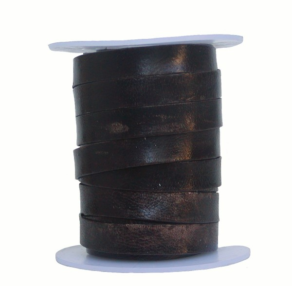 Rindleder Flachband antik im used look dunkelbraun, Länge 10 m, Breite 10 mm, Stärke ca. 1,3 mm