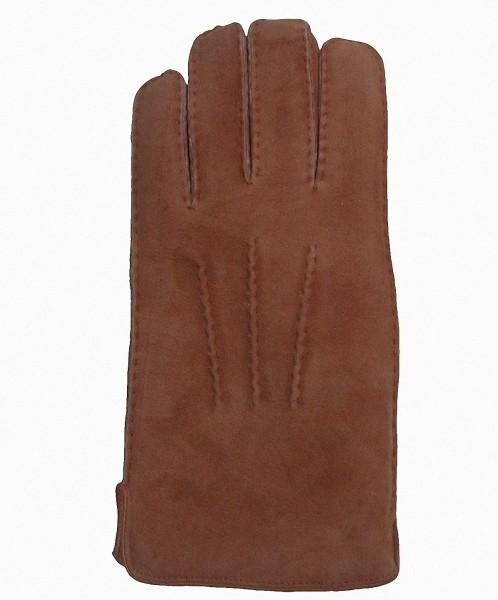 warme Damen, Herren Lammfell Fingerhandschuhe camel, Fellhandschuhe, auch zum Krempeln
