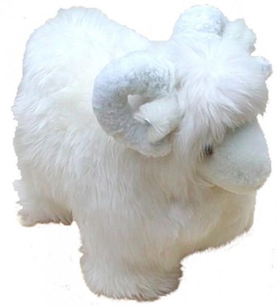 Kuscheltier Schafbock aus echtem Lammfell, als Spielzeug, Deko, ca. 60 cm lang