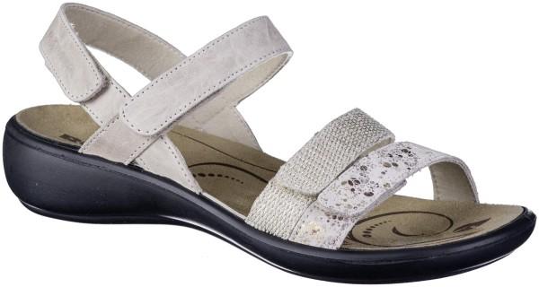 ROMIKA Ibiza 103 Damen Leder Sandalen natur, Klettverschluss, weiches Fußbett, weiche Laufsohle