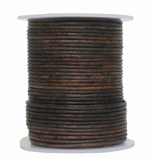 endlos Antik Ziegenleder Rundlederriemen Rolle antik schwarz used look, für Lederschmuck, Lederarmbänder, Länge 50 m, Ø 1 mm