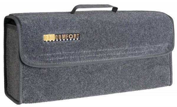 große Kofferraum Auto KFZ Tasche L grau mit Klettverschluss+Druckknöpfen 50x21x16 cm, Werkzeugtasche, Auto Organizer