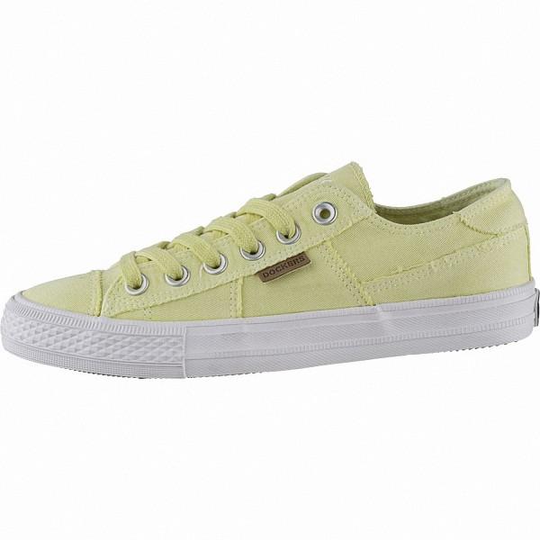 Dockers sportliche Damen Canvas Sneakers gelb, weiches Fußbett, modische Sneaker Laufsohle