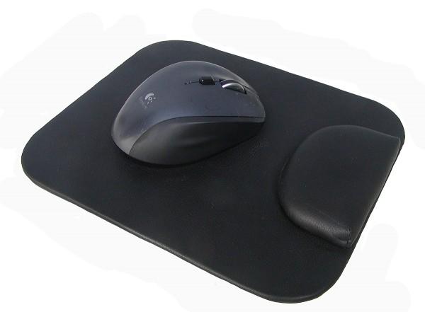 Leder Mouse Pad mit weicher Schaumstoff Handballenauflage schwarz, ca. 19x23 cm, Mausmatte, Mauspad