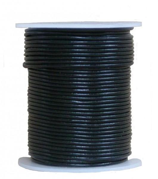 endlos Ziegenleder Rundlederriemen Rolle schwarz, für Lederschmuck, Lederarmbänder, Länge 100 m, Ø 1 mm