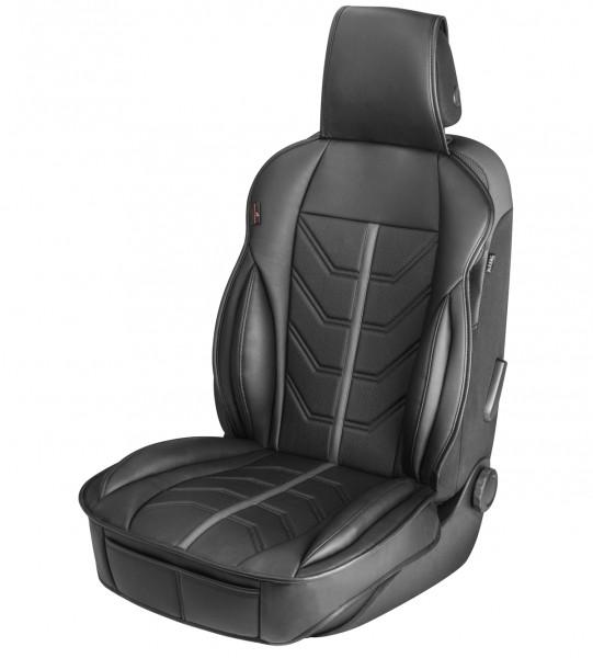 sportliche Universal Auto Kunstleder Sitzauflage Kimi grau, feste Seitenwangen, 7 mm Polsterung, PKW Sitzauflage