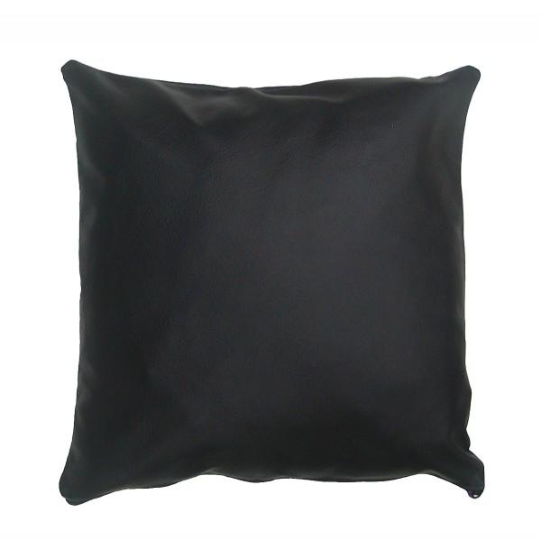 weiche und dekorative Leder Kissenhülle schwarz, Echtleder, ca. 35x35 cm