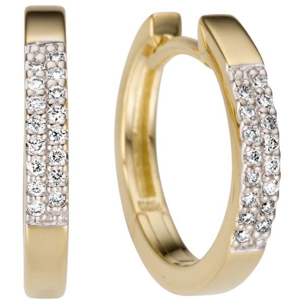 Creolen 585 Gold Gelbgold 32 Diamanten Brillanten Ohrringe