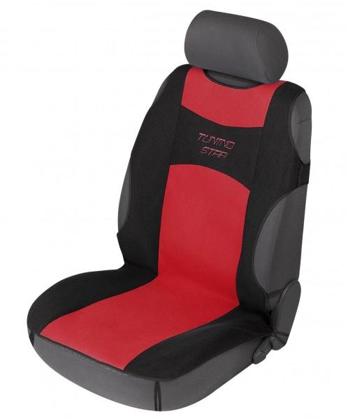 sportliche Universal Polyester PKW Auto Sitzauflage Tuning Star rot, 120x60 cm, weich gepolstert, waschbar, PKW Sitzaufleger