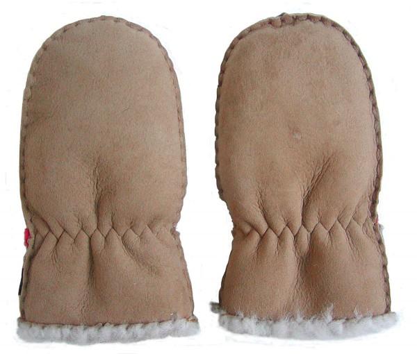 Lammfell Handschuhe Babys camel, Baby Fell Fäustlinge, weich und kuschelig