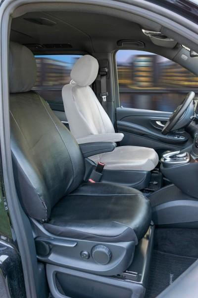 Passform Sitzbezüge Mercedes V-Klasse 447, passgenauer Kunstleder Sitzbezug Beifahrer Einzelsitz f. Armlehne innen, ab Bj. 06/14