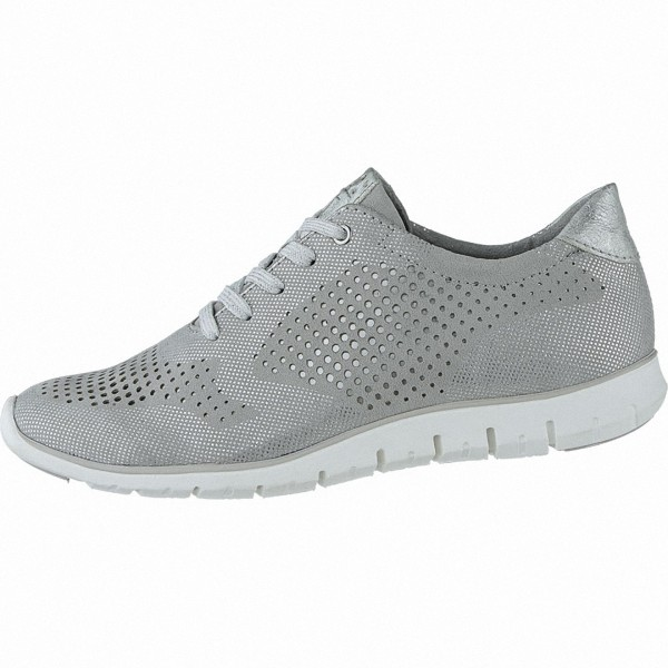 Marco Tozzi coole Damen Metallic Leder Sneaker grey, gepolsterte Feel me Decksohle