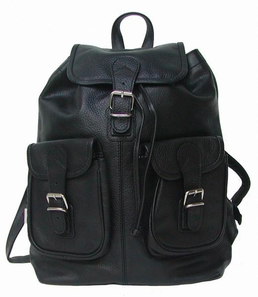 klassischer Rindleder Rucksack schwarz, 2 Vortaschen, 1 Hauptfach, ca. 35x37 cm