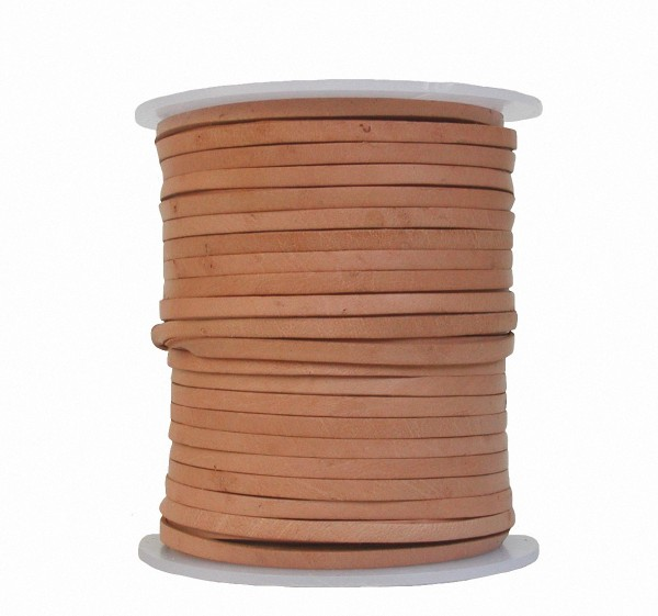 Lederband Flachband Rindleder natur, vegetabiles Leder, Länge 25 m, Breite 5 mm, Stärke ca. 1,0 / 1,2 mm