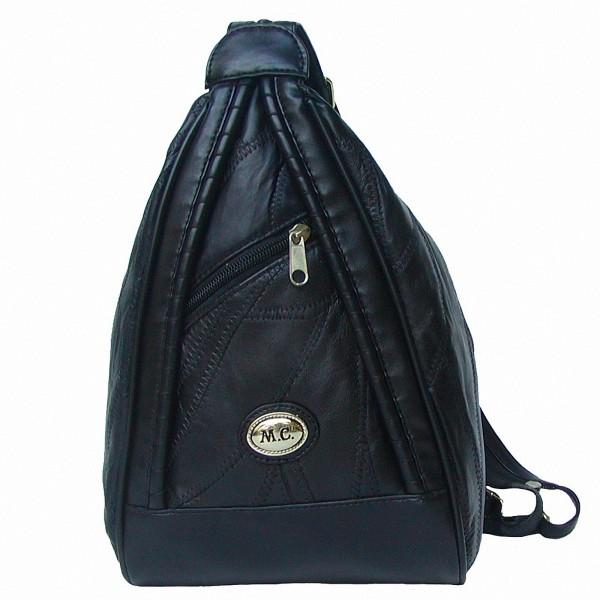 Marc Chantal Damen Rucksack schwarz, Leder im Patchwork-Style, 1 RV-Hauptfach, 3 RV-Außenfächer, 21x30x11 cm
