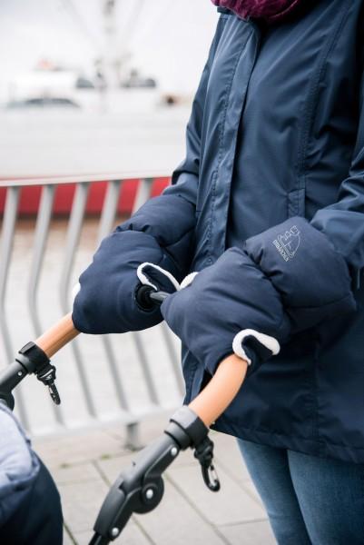 Heitmann Felle warmer Kinderwagen Handwärmer blau meliert, Innenfleece, Kinderwagen Muff, Handwärmer, Handschuh
