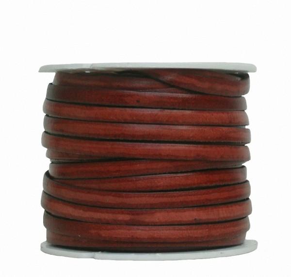 Ziegenleder Lederriemen, Lederband flach mittelbraun, Kanten schwarz gefärbt, Länge 25 m, Breite ca. 5 mm, Stärke ca. 1,0 mm