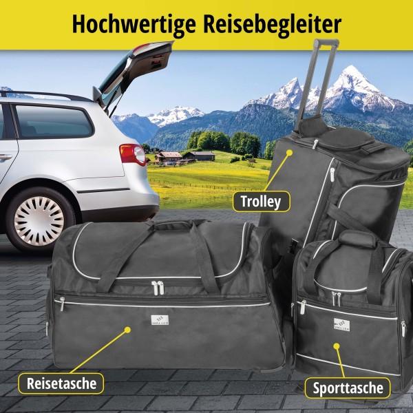 Carbags leichte Sporttaschen 45 - 80 L, schwarz, 3 Außenfächer, separates Schuhfach