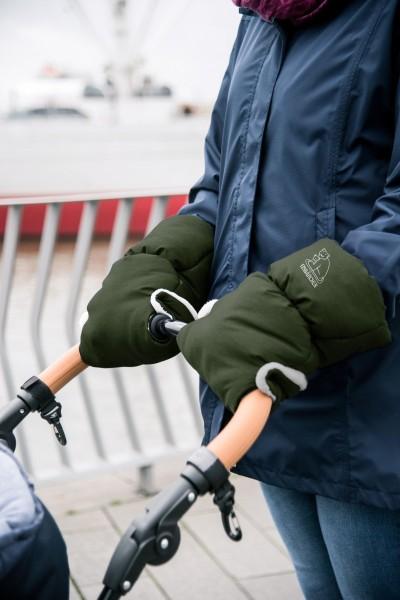 Heitmann Felle warmer Kinderwagen Handwärmer grün meliert, Innenfleece, Kinderwagen Muff, Handwärmer, Handschuh