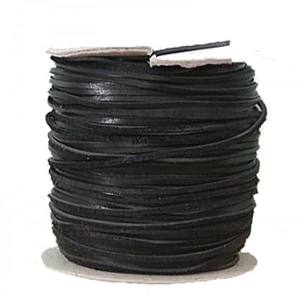 Lederflechtband Büffelleder schwarz, Länge 50 m, Breite ca. 3 mm, Stärke ca. 1,3 mm