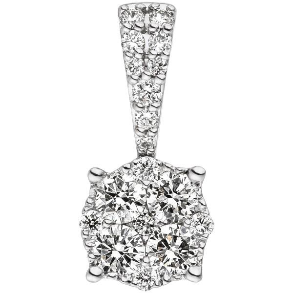 Anhänger 585 Gold Weißgold 18 Diamanten Brillanten 0,36ct. Diamantanhänger