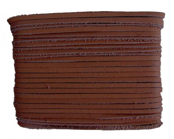 weiches Leder Flechtband Ziegenleder auf Karte mittelbraun, Länge 10 m, Breite ca. 2,5 mm, Stärke ca. 1,0 mm