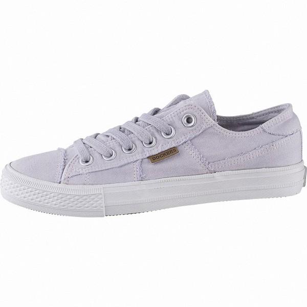 Dockers sportliche Damen Canvas Sneakers lila, weiches Fußbett, modische Sneaker Laufsohle