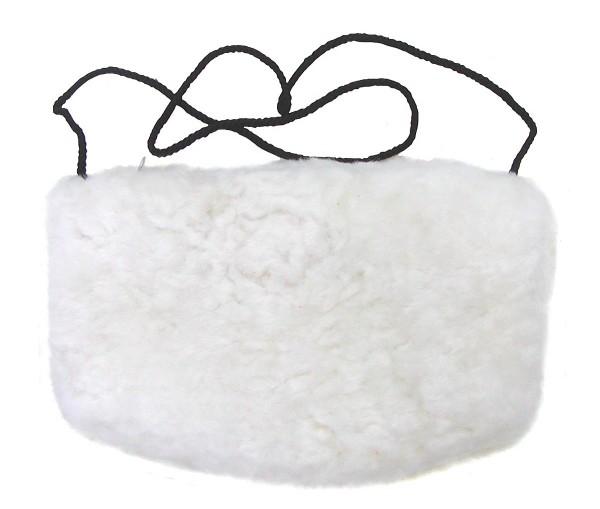 warmer Lammfell Pelzmuff, Felltasche naturweiß ca. 28x20 cm, waschbar, mit Reißverschlusstasche