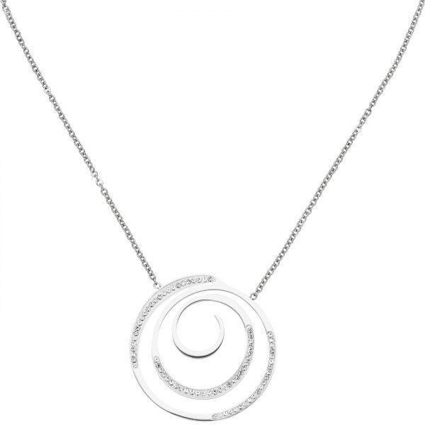Collier Kette mit Anhänger Edelstahl mit 74 Kristallen 46 cm